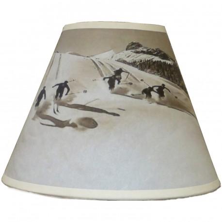 abat jour conique ski poudreuse noir et blanc. Black Bedroom Furniture Sets. Home Design Ideas