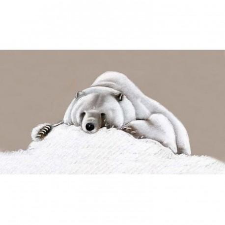 toile sur chassis ours polaire t te dans la neige. Black Bedroom Furniture Sets. Home Design Ideas