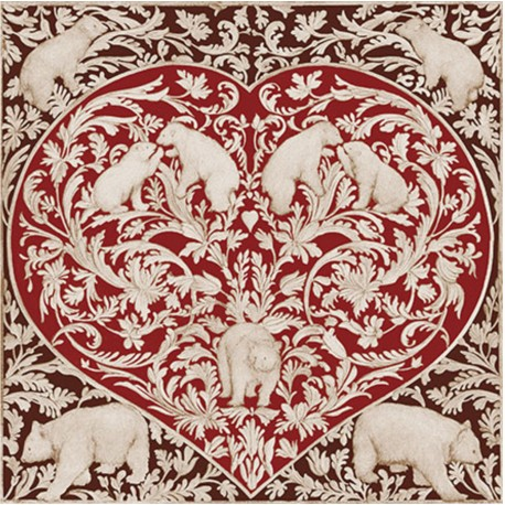 Toile sur chassis coeur ours rouge et brun - Toile sur chassis ...