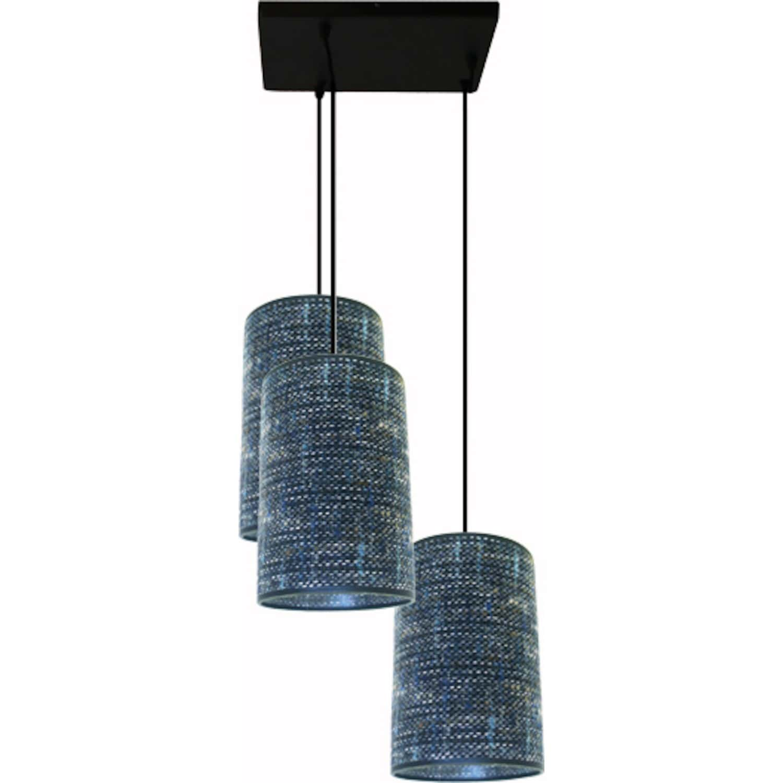 suspension 3 lampes abat jour tissu. Black Bedroom Furniture Sets. Home Design Ideas
