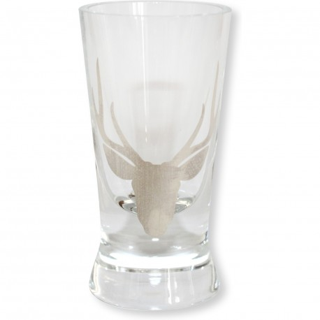 Set de 4 verre à liqueur gravé tête de cerf