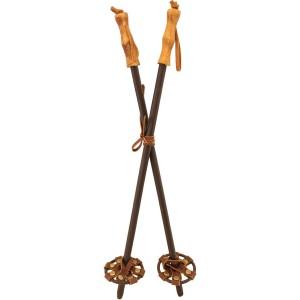 Paire de baton de ski bois et cuir