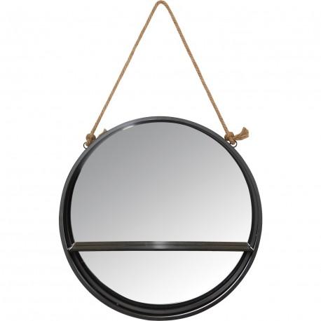 Étagere ronde miroir avec corde