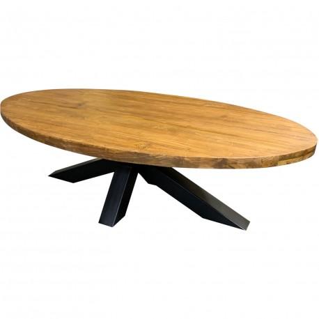 Table basse ovale teck massif et metal