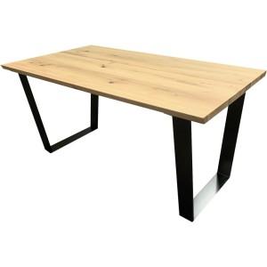 Table rectangulaire en chêne massif avec pieds métal