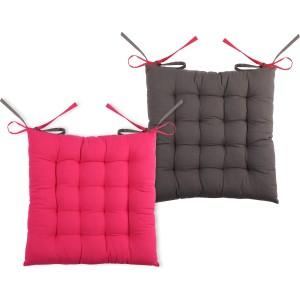 Galette de chaise bicolore reversible