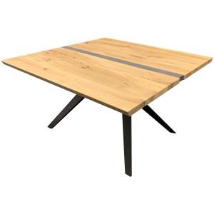 Table carrée chêne massif et béton