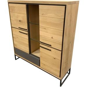 Armoirette chêne 4 portes bois et béton - 1 tiroir