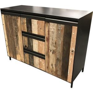 Bahut 2 portes 3 tiroirs métal et teck recyclé