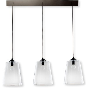 Rampe metal noir 3 lampes abat jour verre diane