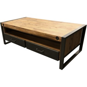 Table basse 2 tiroirs 1 niche loft