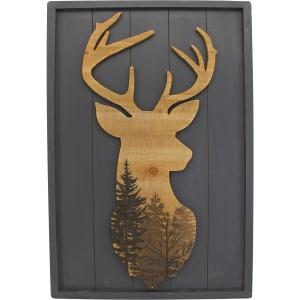 Cadre bois avec tête de cerf