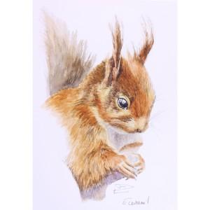 Tableau petit ecureuil et sa noisette