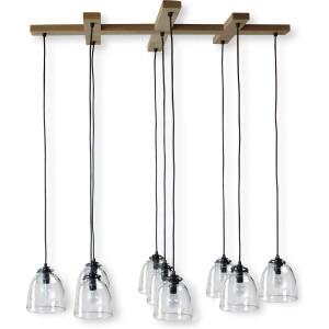 Lustre 9 lampes chêne brut naturel abats jour verre