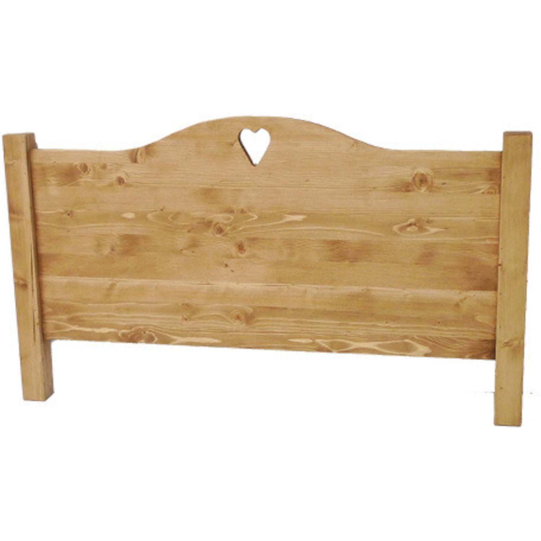 T te de lit bois massif coeur chapeau de gendarme - Tete de lit bois naturel ...