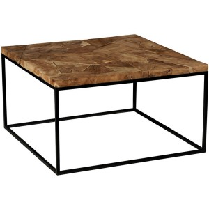 Table basse carrée plateau marqueterie en teck recyclé