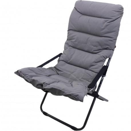 Chaise longue matelassé fiesta, métal anthracite
