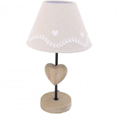 Lampe bois coeur abat-jour lin