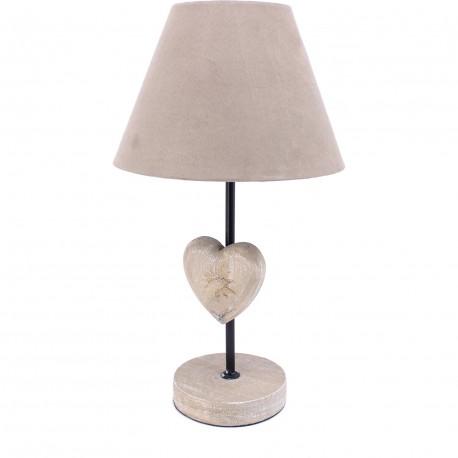 Lampe petit coeur bois