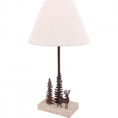 Lampe cerf et 2 sapins marron