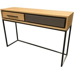 Console en chêne 2 tiroirs bois et béton