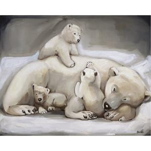 Toile sur chassis mère ours et oursons