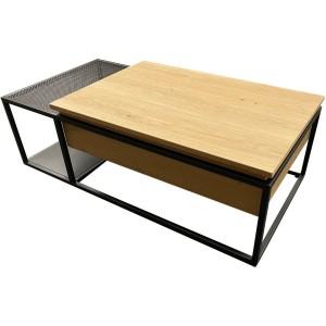 Table basse plateau relevable chêne et métal