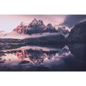 Impression sur dibond sommets reflétés sur le lac