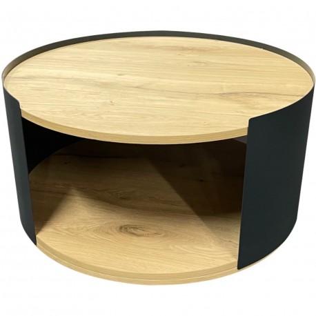 Table basse ronde métal et chene style