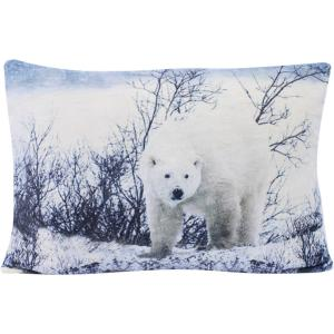 Coussin velours ours attentif