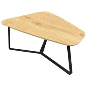 Table basse forme galet chene et métal style
