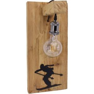 Applique vieux bois avec ampoule déco