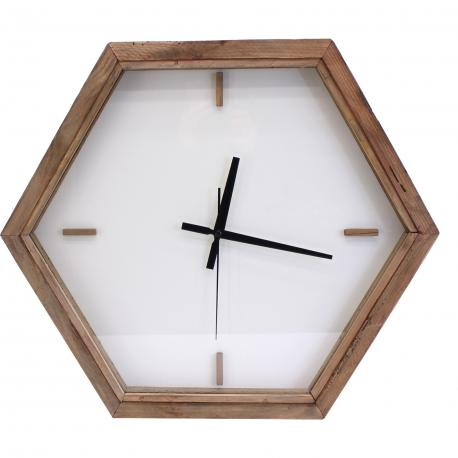 Horloge hexagonale bois verre