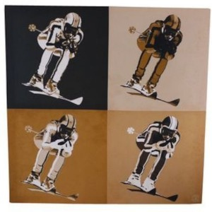 Tableau sépia pop skieurs