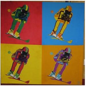 Tableau pop skieurs