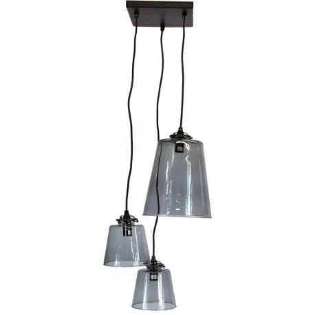 Grappe 3 lampes abat-jour verre diane