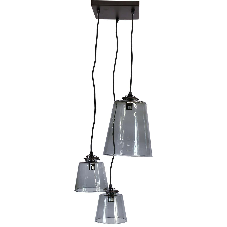 Grappe 3 lampes abat jour verre diane - Suspension plusieurs lampes ...