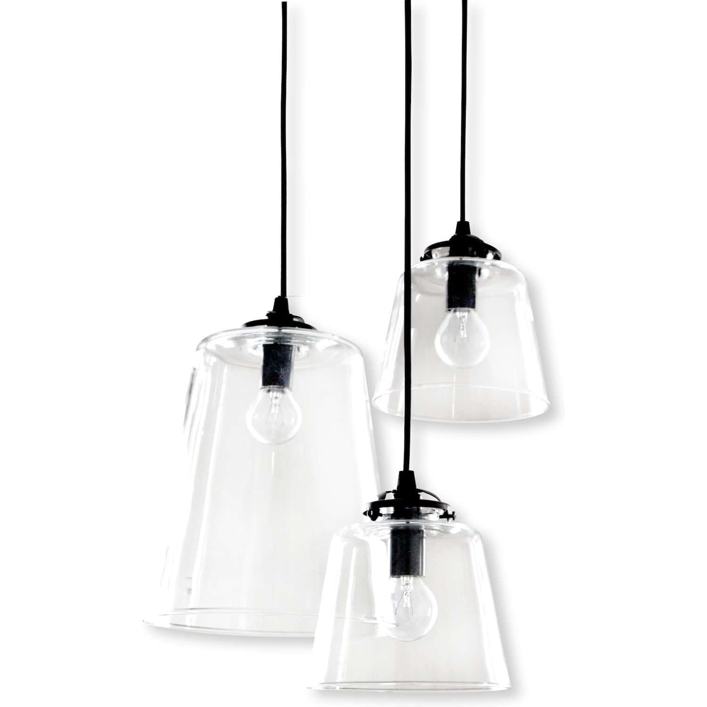 grappe 3 lampes abat jour verre diane. Black Bedroom Furniture Sets. Home Design Ideas