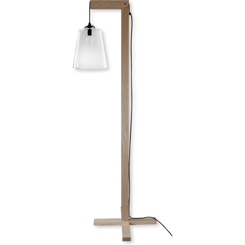lampadaire chene brut naturel abat jour verre. Black Bedroom Furniture Sets. Home Design Ideas