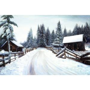 Toile sur chassis chalets sous la neige