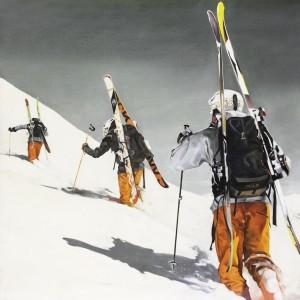 Tableau ski de rando montée dans la poudreuse