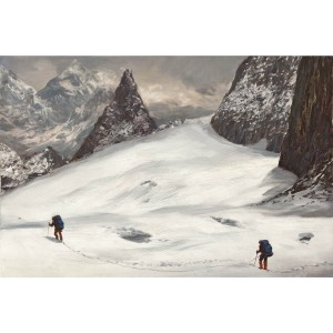 Tableau alpinistes sur glacier