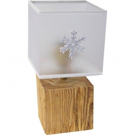 Lampe cube pm  style vieux bois abj flocon