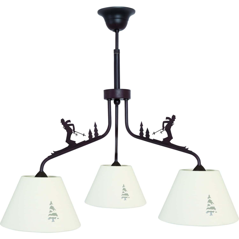 lustre 3 lampes skieurs abat jour sapin. Black Bedroom Furniture Sets. Home Design Ideas