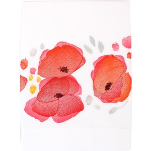 Drap plat brodé Poppies