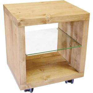 Etagère cube 1 case + etagère verre sur roulettes