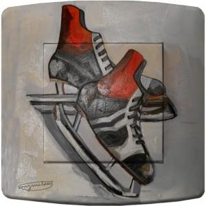 Interrupteur décoré peinture patins à glace vintage