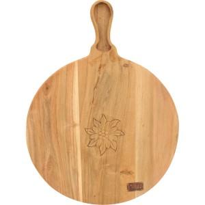Planche a decouper ronde bois sculpté edelweiss