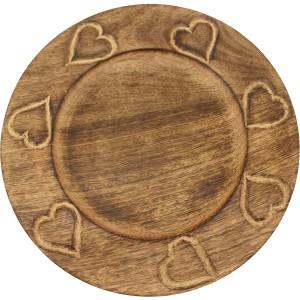 Assiette bois brulé 7 coeurs sculptés