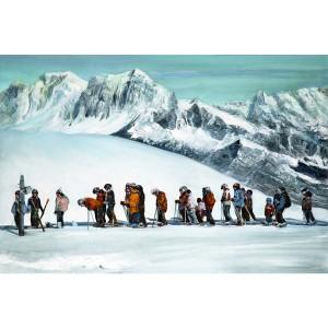 Toile sur chassis groupe de skieurs au départ